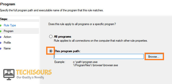 To show the options that have to be selected to create Firewall rule to fix the Skyrim crash at startup problem