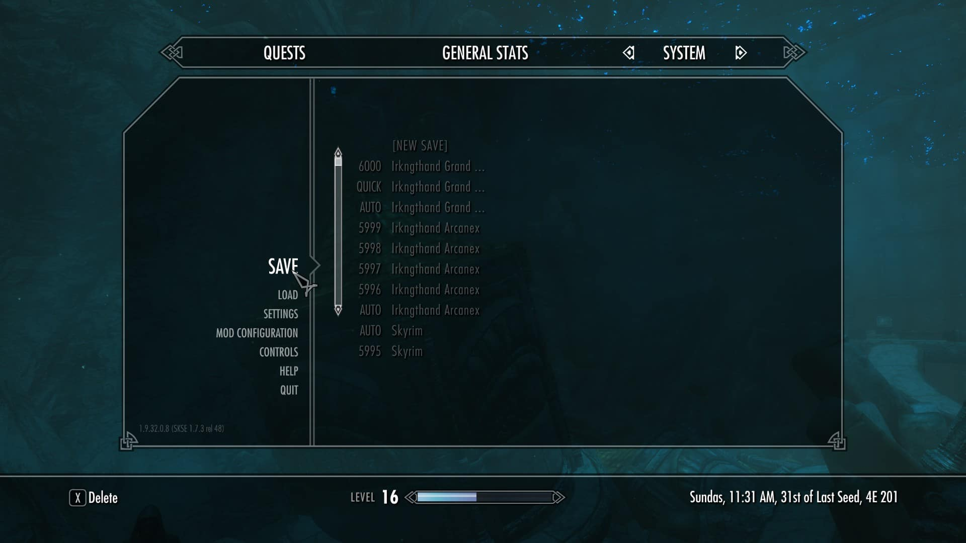 To show that we are loading an old save game in Skyrim