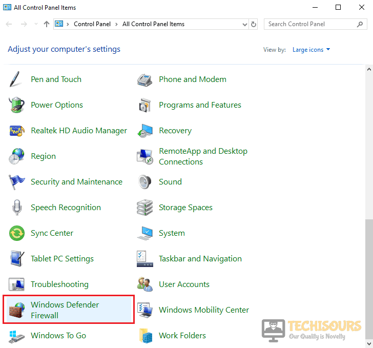 Opening Windows Defender Firewall
