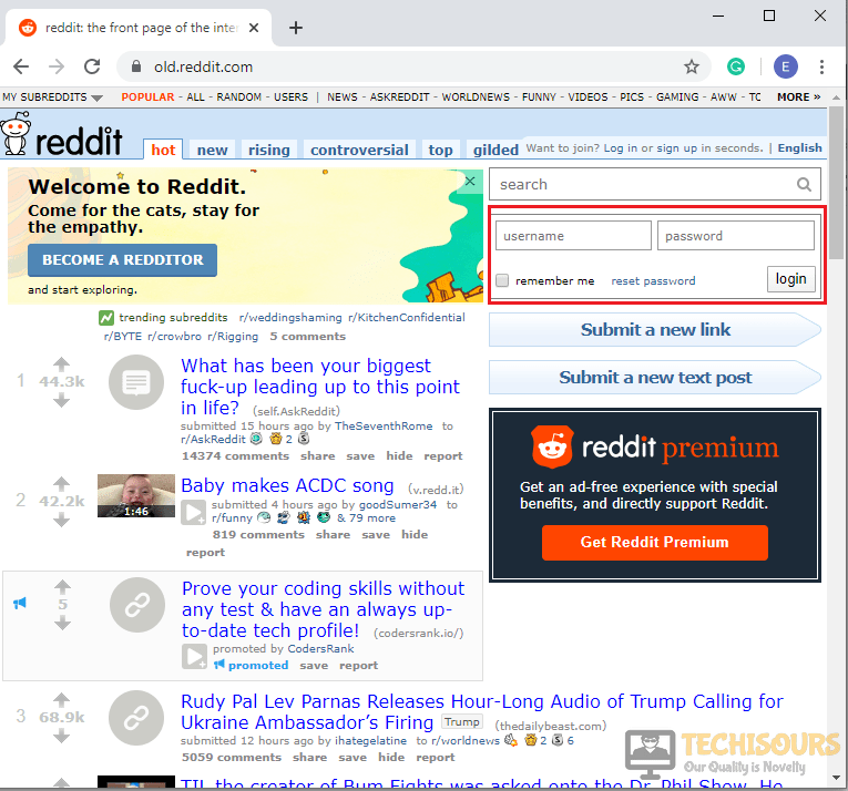 Logging in to Old Reddit