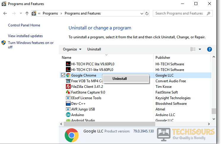 """Uninstalling Chrome to fix the """"err_network_changed"""" issue"""
