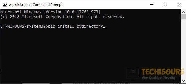 """Running the """"pip install pydirectory"""" command in the command Prompt"""
