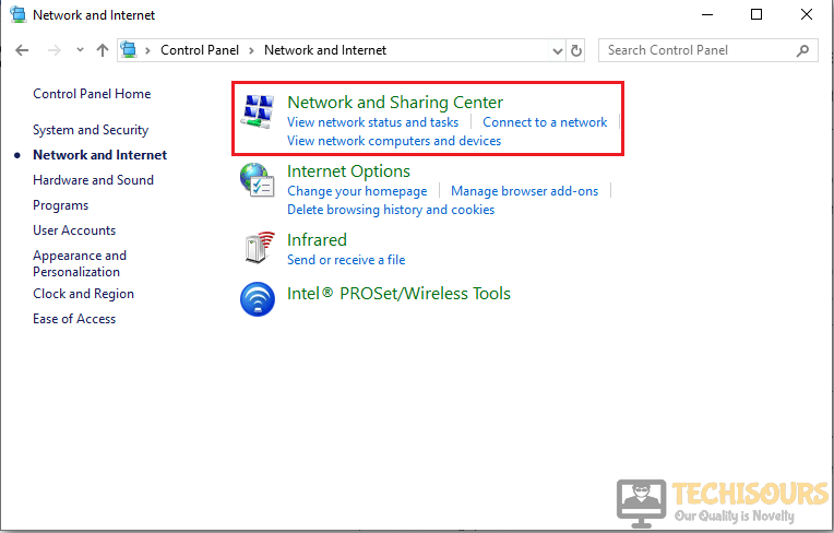 Choose Network and sharing Center option