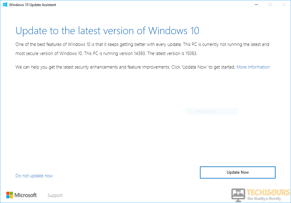 Update the windows using Windows Upgrade Assistant