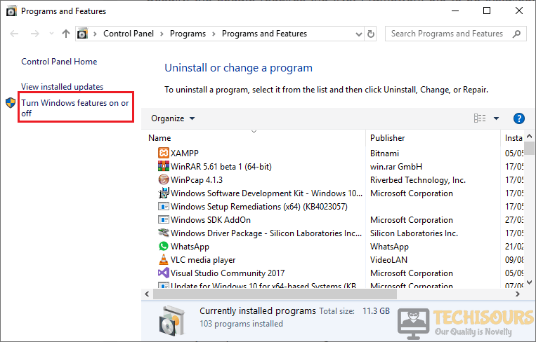 Turn Windows Feature on or off to fix Windows Update Error 80070663