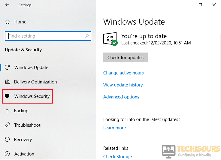 Click on Windows Security to fix pubg crashing issue