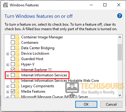 """Uncheck the Internet Info Service to resolve """"feature update to windows 10 version 1709 failed to install"""" issue"""