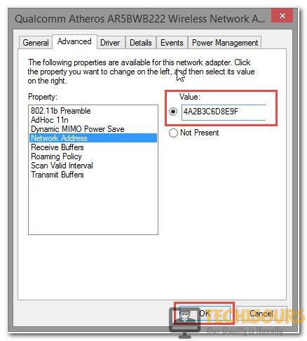 Configure Network Address In Value Button