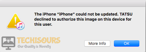 """""""The iPhone could not be restored: Tatsu declined to authorize this image on this device for this user"""" Error on iTunes"""