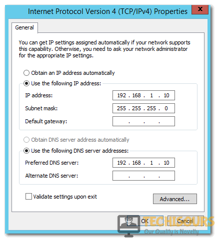 Modify IPv4 Properties to fix server not found error