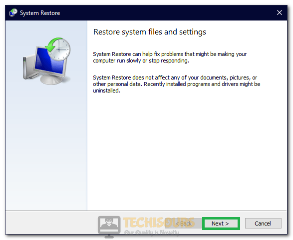 "Clicking on ""Next"" to configure restore"