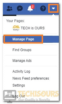 "Clicking on ""Manage Page"""