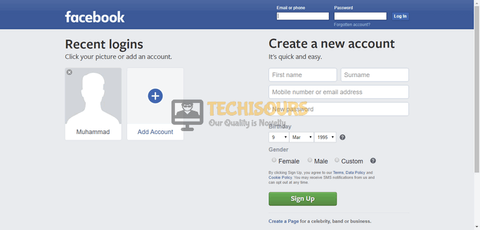Login Screen Facebook