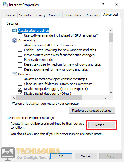 In the Internet Properties Click on the Reset option
