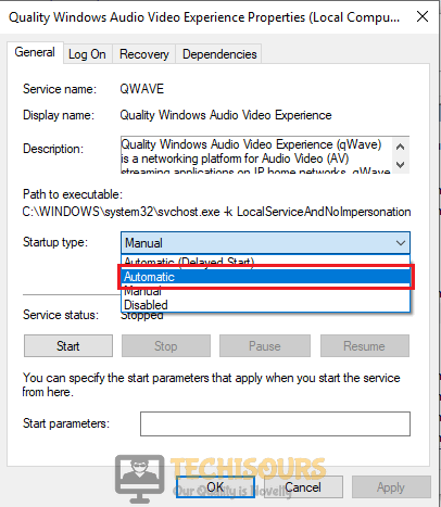 Selecting Automatic from the Startup Type to fix Nvidia Control Panel Access Denied