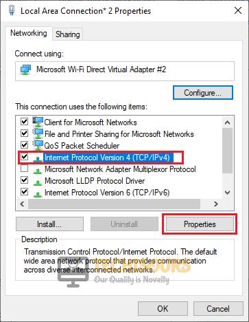 Choose IPv4 option