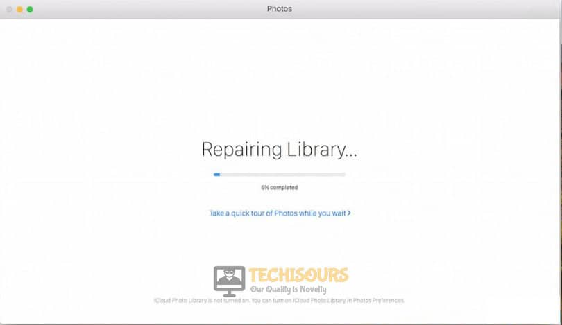 Repairing to fix the time machine couldn't complete the backup issue