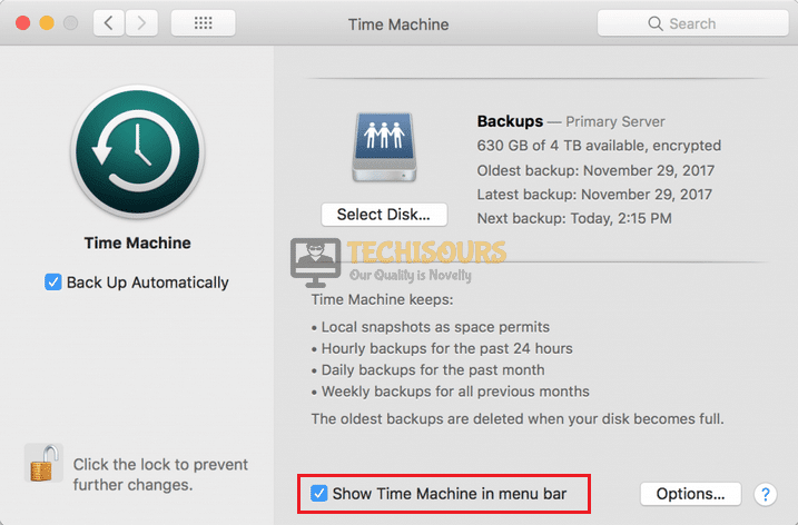 Check the Show time machine in menu bar option