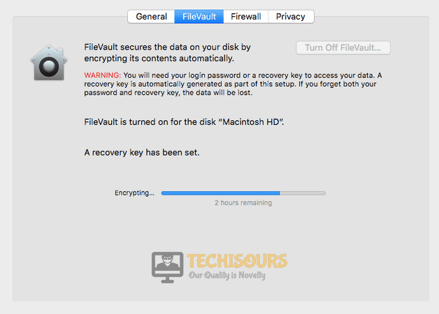 Click on FileVault to get rid of You may not install to this volume because it is currently being encrypted issue on Mac
