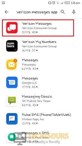 Choose Verizon app to eliminate error 97 sms origination denied