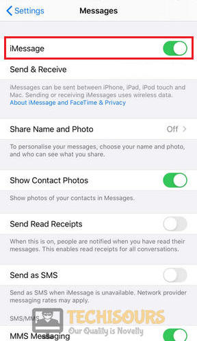 Disable iMessage to get rid of error 31 other network problem