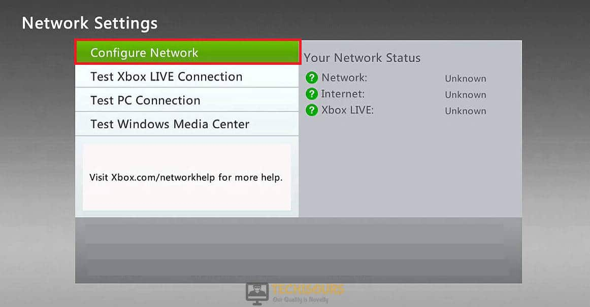 Click on Configure Network to get rid of netflix error code nw-4-8