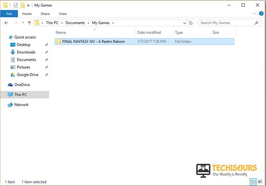 Look for ffxiv folder