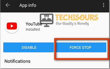 Click on force stop to resolve 500 Internal Server Error.