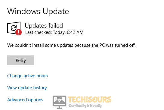 """While updating """"We couldn't install some updates because the pc was turned off"""" error"""