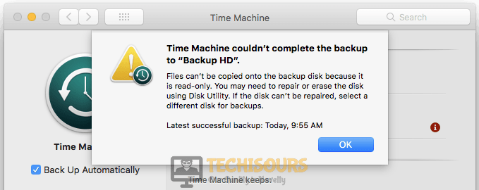 """A common """"time machine couldn't complete the backup"""" error on Mac"""