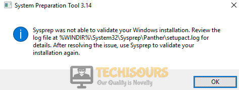 """Error """"sysprep was not able to validate your windows installation"""" in windows 10"""