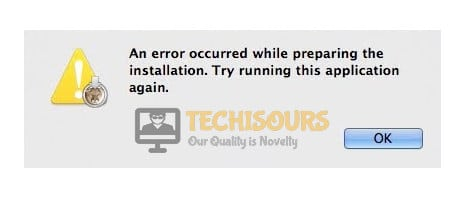 """Macbook display of """"an error occurred while preparing the installation"""""""