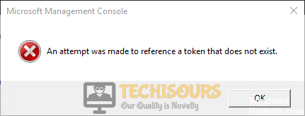 "After April's update error ""an attempt was made to reference a token that doesn't exist"" in windows"