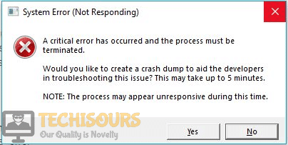 """""""A critical error has occurred and the process must be terminated"""" error in Windows"""