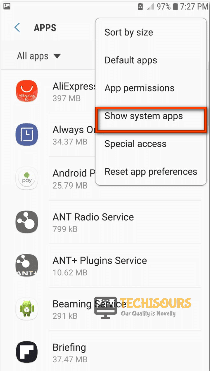 Tap on Show system apps
