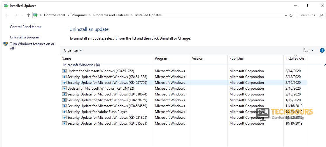 Uninstall Updates