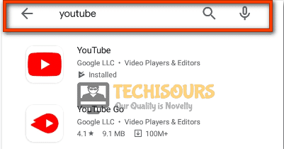 Search for youtube