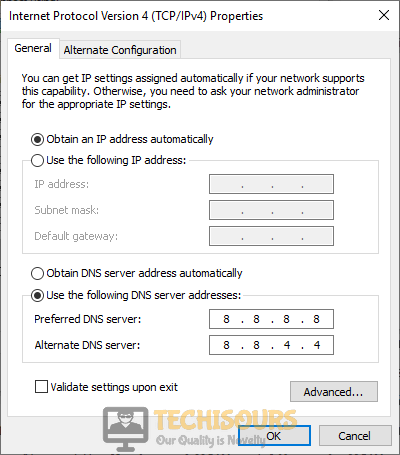 Use the following DNS server addresses to fix black screen on Twitch