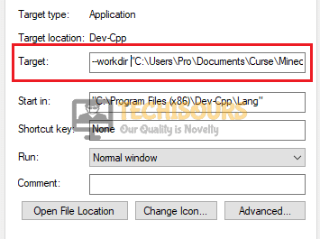 Editing the target path to fix the Mods tab not loading issue