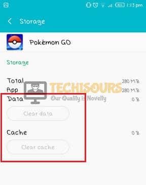 Clear Data and Cache option to remove pokemon go error 12