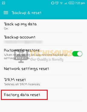 Reset phone to eliminate error 97 sms origination denied