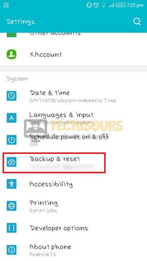 Choose Backup and Reset to get rid of error 97 sms origination denied