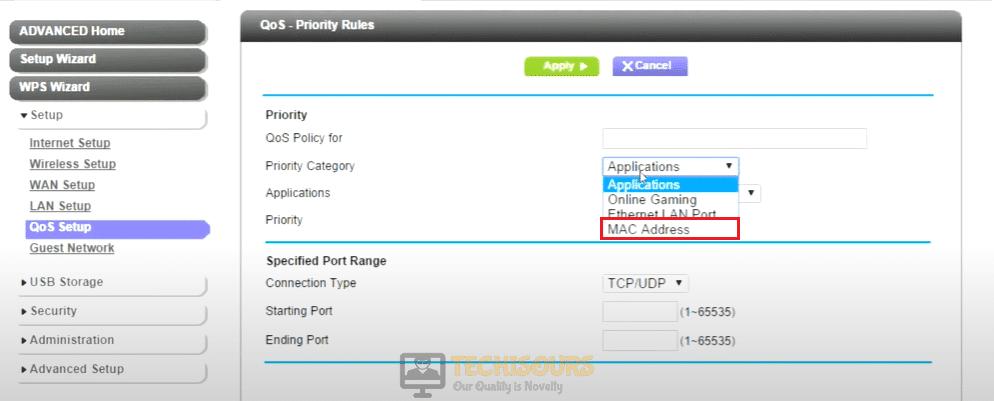 Choose mac address to get rid of error code bee