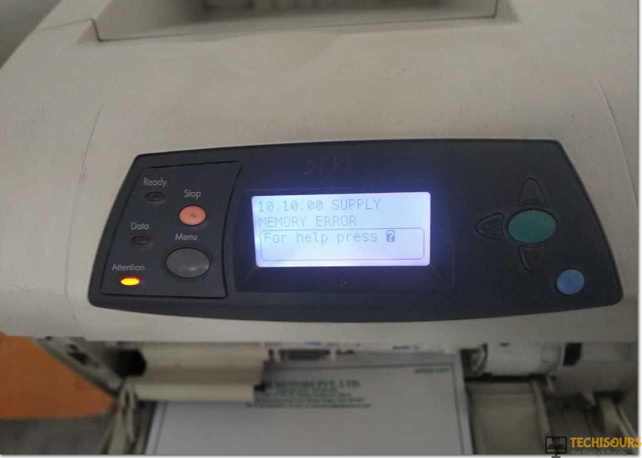 supply memory error on printer screen