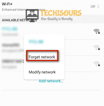 Forget network to eliminate 500 Internal Server Error.