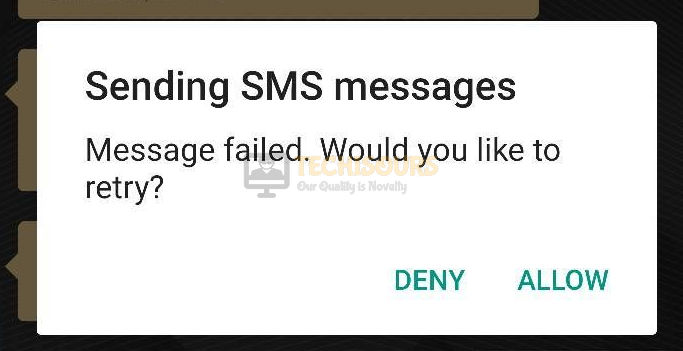 error 97 sms origination denied on your phone