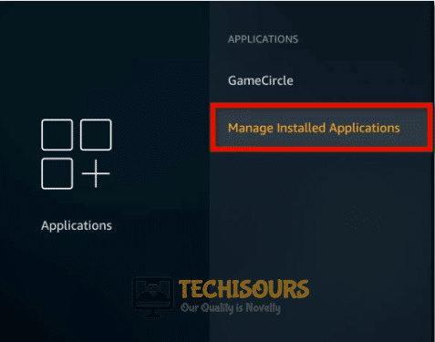 select manage installed applications