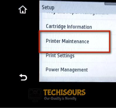 Click on printer maintainance