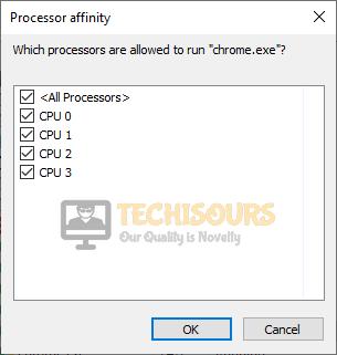 Reset processor affinity