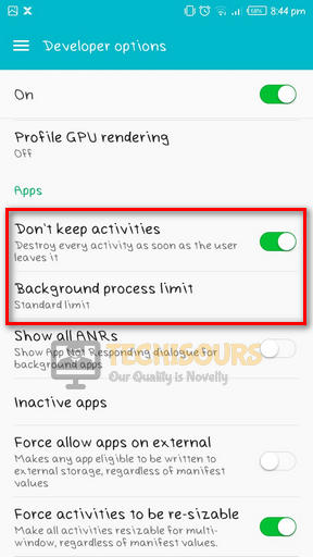 Choose don't keep activities to fix pubg crashing issue